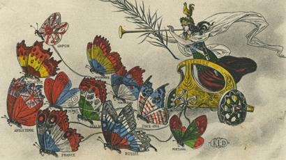 A postcard of a woman riding a chariot led by butterflies. Each butterfly's wings are the colors of a different country's flag.