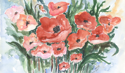 Poppies by Memphian Peggy Frazier. Watercolors became a passion for Peggy at age 85.