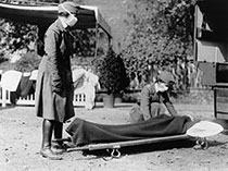 Two American Red Cross Nurses Demonstrate Treatment Practices During the Influenza Pandemic of 1918