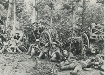 Artillerymen Resting in Forest After All-Night Hike