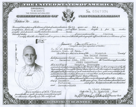 James' Citizenship Certificate