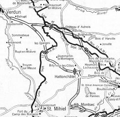 Map Viewing South - Hattonchattel To Montsec
